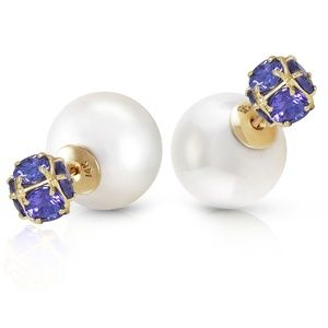DOUBLE SHELL PEARLS AND TANZANITES STUD EARRINGS